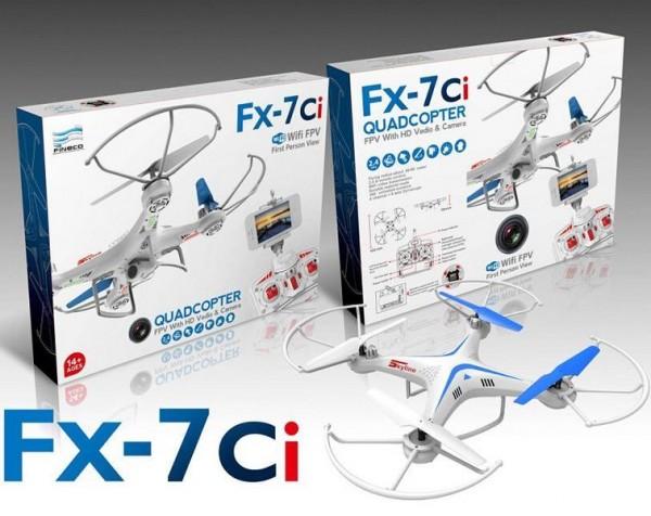 QUADROCOPTER FX-7Ci Drohne mit HD-Kamera, 6 Achsen-GYRO weiß/blau