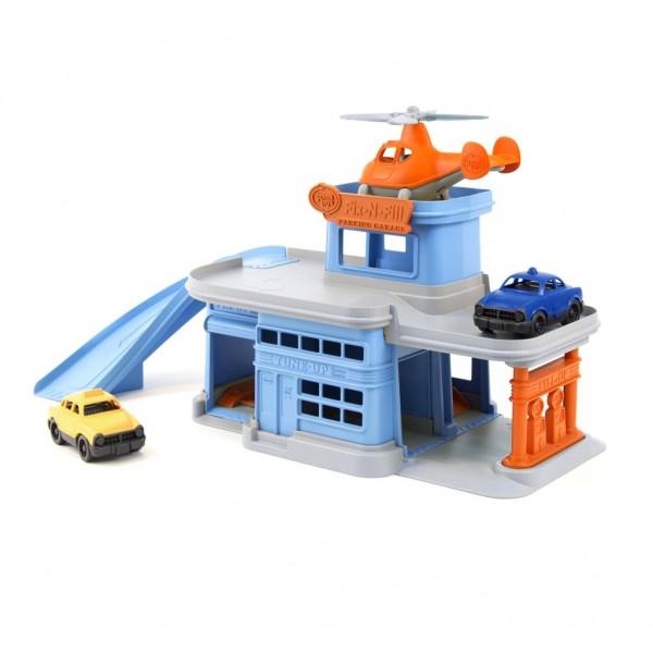 Green Toys Parkgarage mit Hubschrauber und 2 Autos