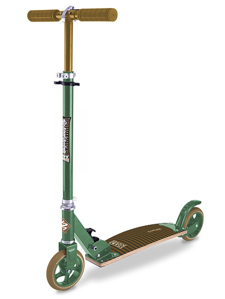 Streetsurfing City Kicker Scooter mit Holzdeck-Strpes Green brown 500327