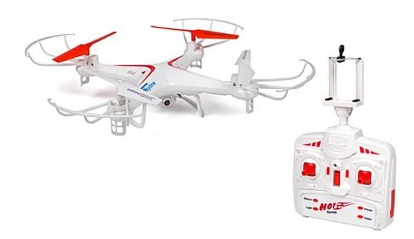 QUADROCOPTER FX-6CI Drohne mit HD-Kamera, 6 Achsen-GYRO, 2.4 GHz, 5-Kanal weiß/rot