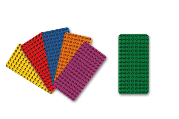 BioBuddi Bauplatten Set - 6 bunte Bauplatten