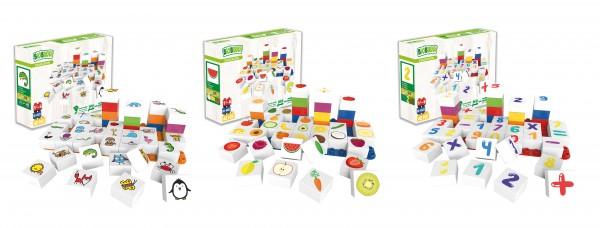 BioBuddi Set Tieren, Obst, Zahlen mit 126 Teilen inkl. 3 Bauplatten